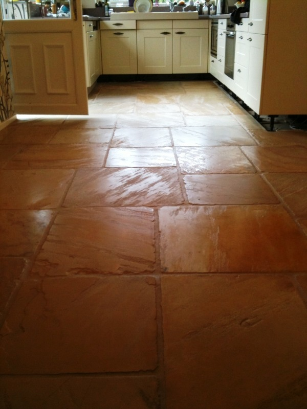 Kitchen Sandstone Flags Before Cleaning
