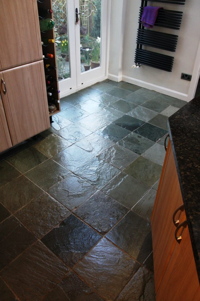 Chinese Riven Slate After Cleaning and Sealing in Chesterfield