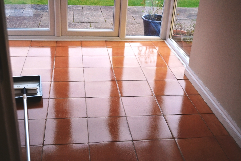 Terracotta Floor After Cleaning and Sealing in Matlock