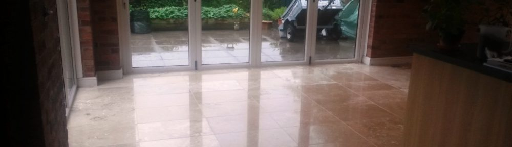 Dull Travertine Kitchen Floor Burnished and Polished in Ashbourne