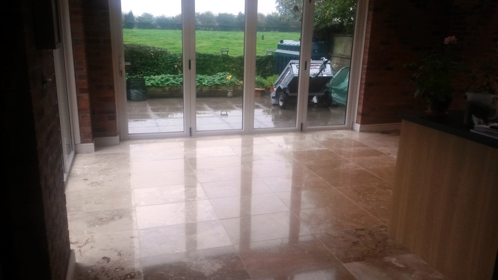 Travertine Floor After Burnishing in Ashbourne