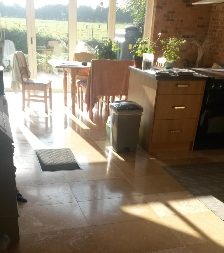 Travertine Floor Before Burnishing in Ashbourne