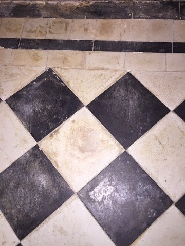 Victorian Floor Dated 1929 Before Cleaning and Sealing