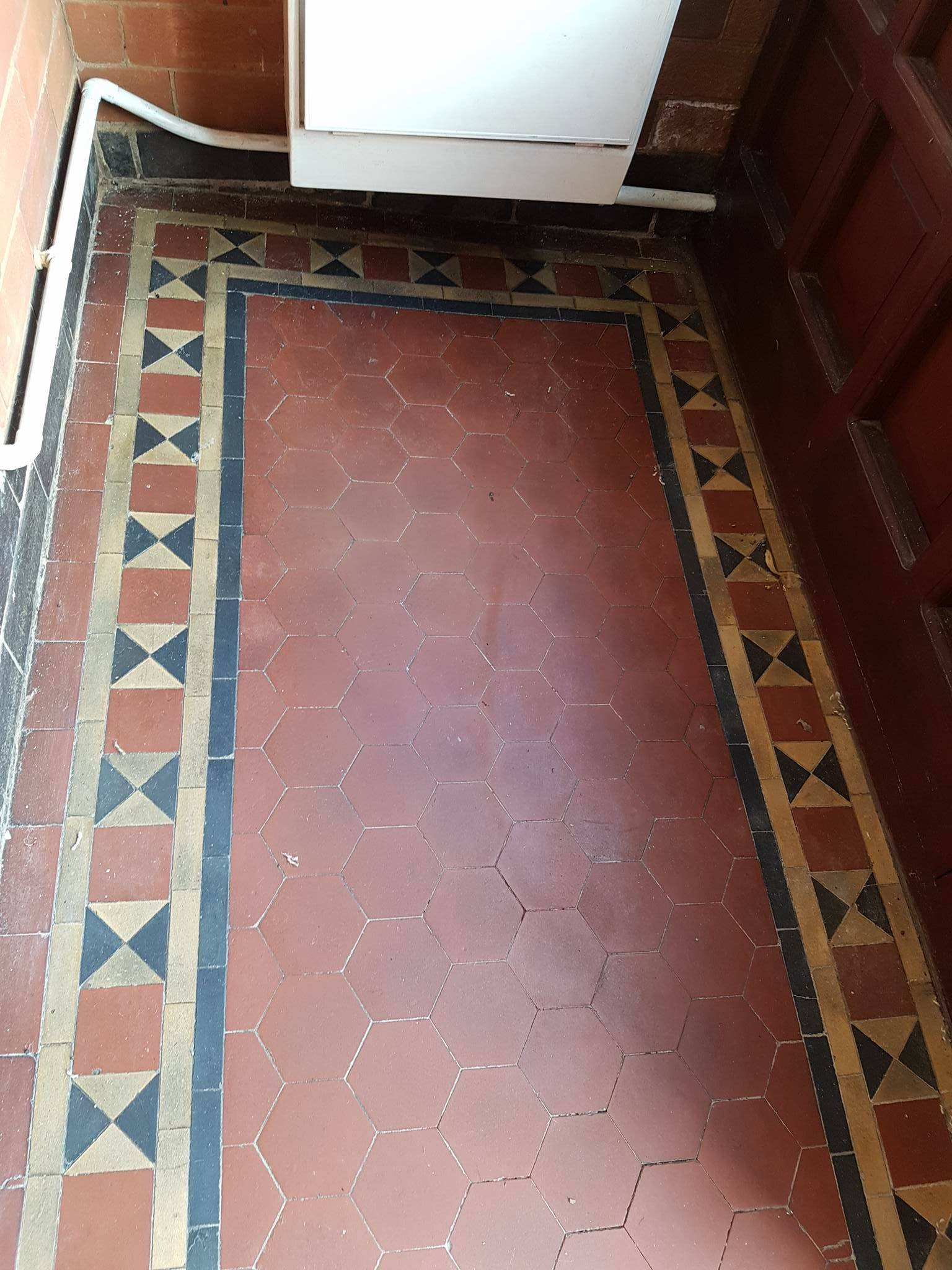 Restoring dull victorian hallway tiles in the derbyshire victorian porch floor before renovation in littleover doublecrazyfo Gallery