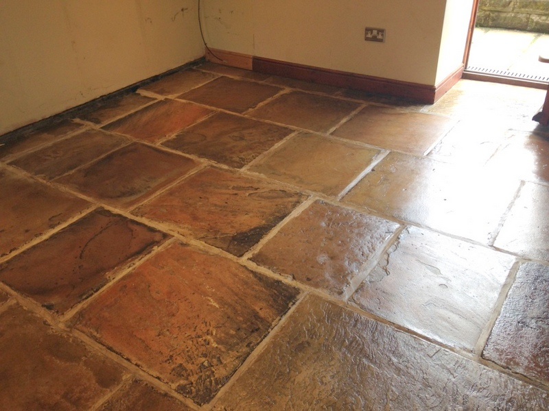 Yorkstone floor after cleaning and sealing in Deepcar Sheffield