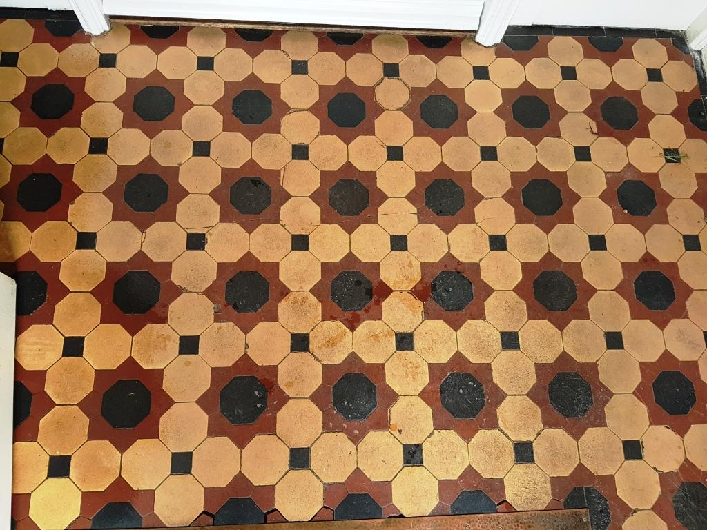 Victorian Tiles Before Cleaning Buxton