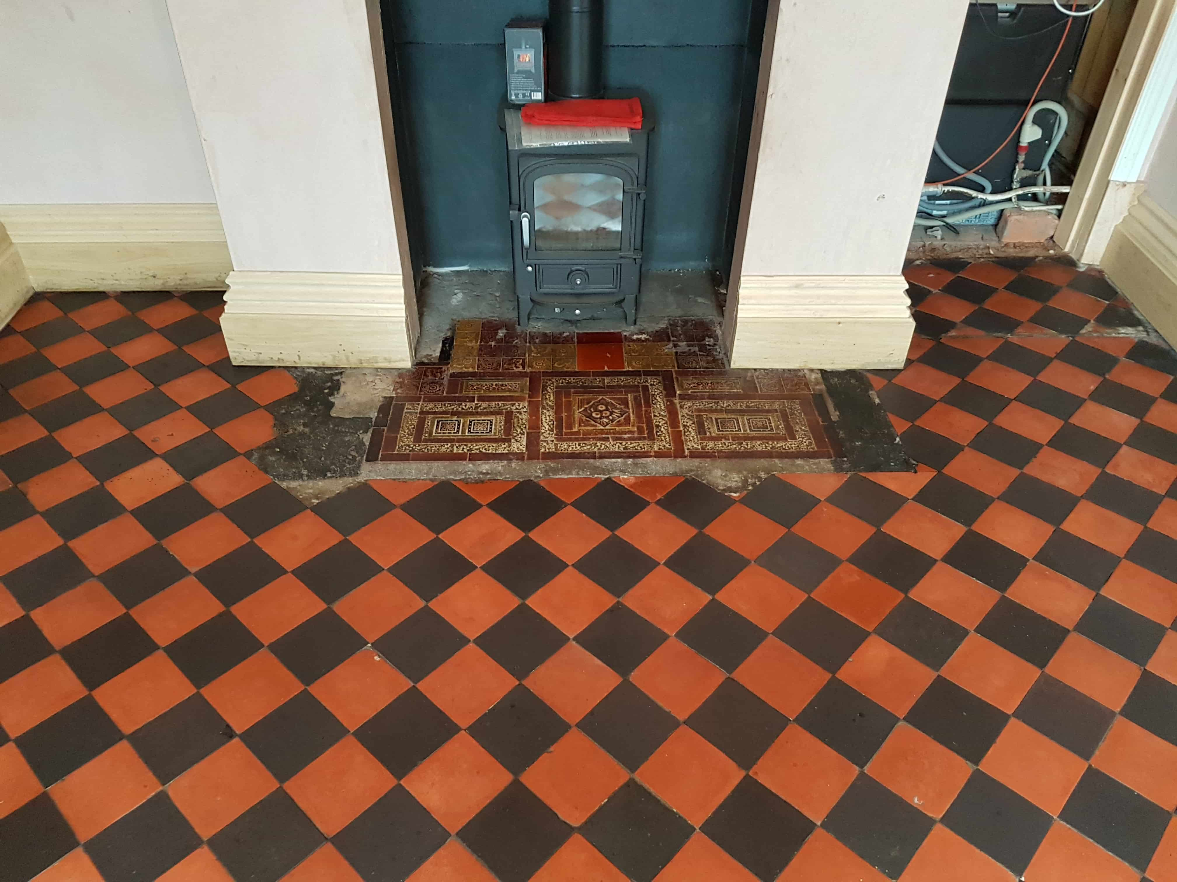 Old Black and Red Quarry Tiled Floor After Cleaning Whaley Bridge
