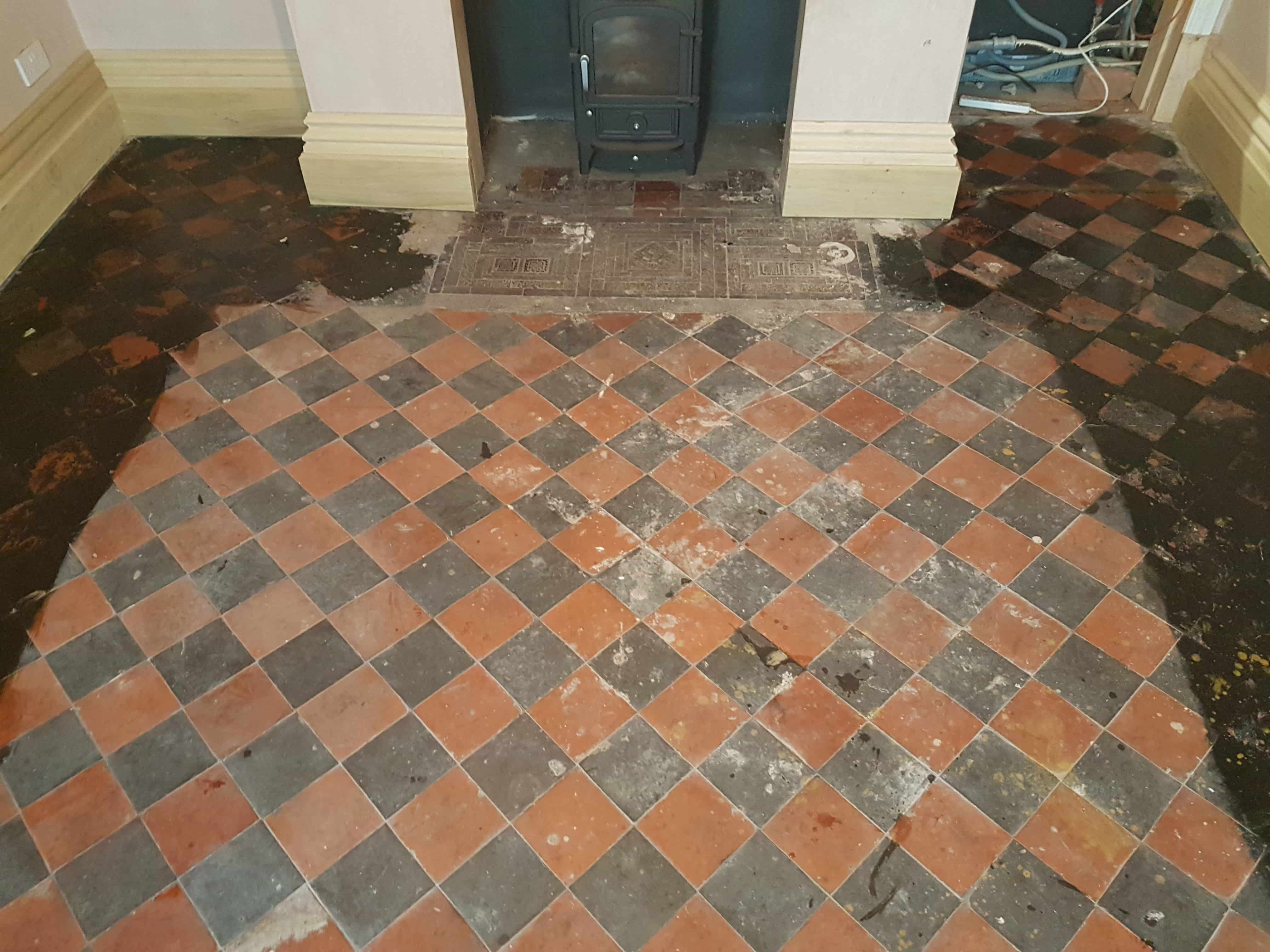 Old Black and Red Quarry Tiled Floor Before Cleaning Whaley Bridge