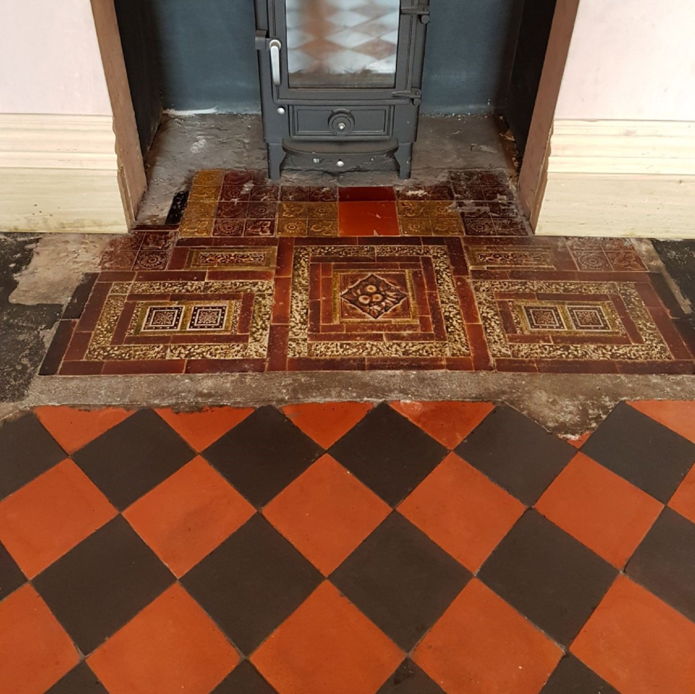 Old Ceramic Tiled Fireplace Hearth After Cleaning Whaley Bridge