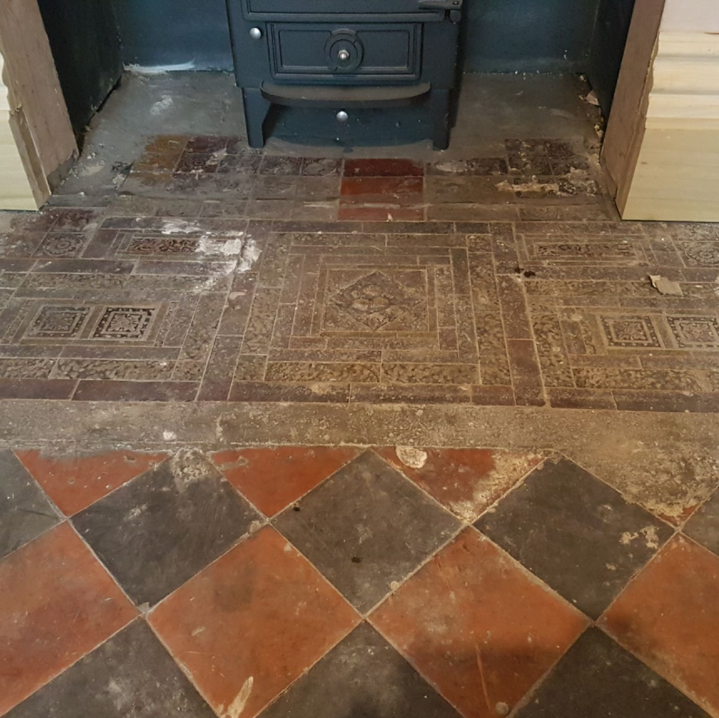 Old Ceramic Tiled Fireplace Hearth Before Cleaning Whaley Bridge