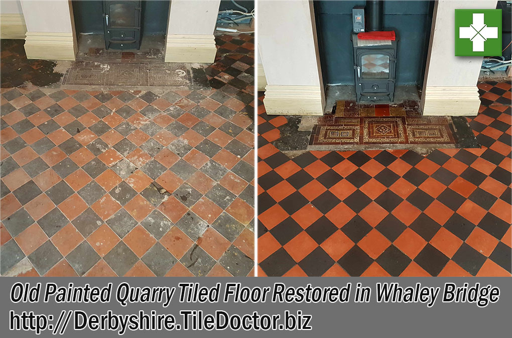 Quarry Tiled Floor Before and After Restoration Whaley Bridge