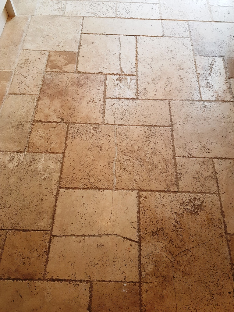 Limestone Kitchen Floor Before Cleaning Chesterfield