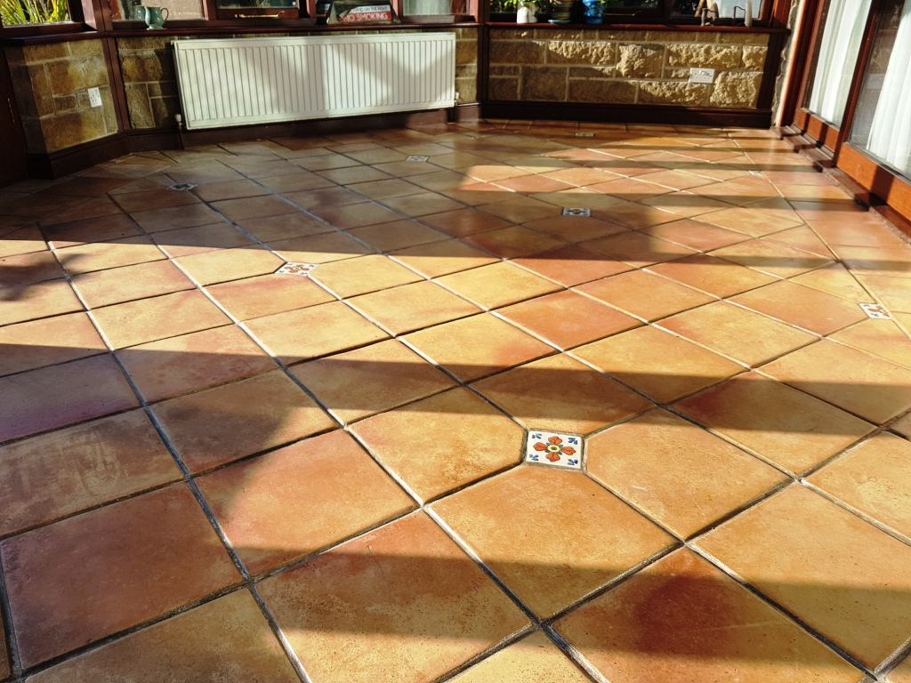 Terracotta Tiled Conservatory Before Cleaning Hope Valley