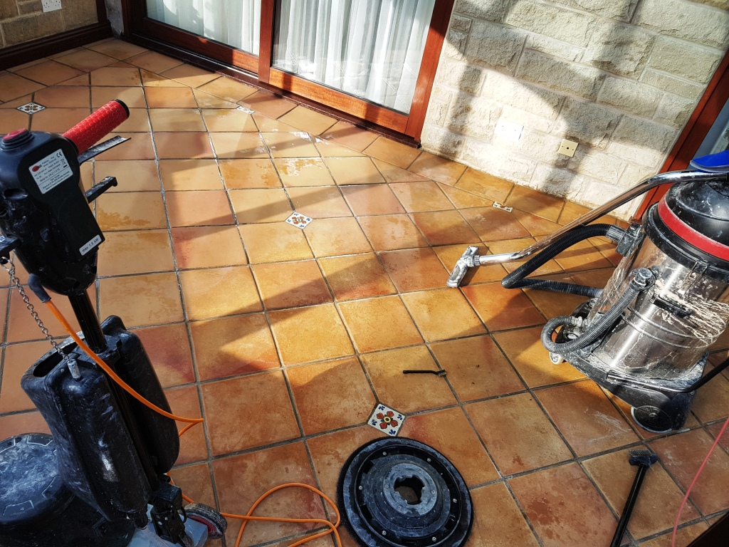 Terracotta Tiled Conservatory During Cleaning Hope Valley