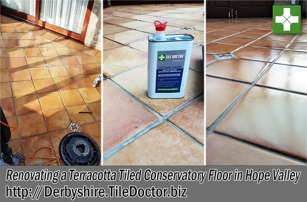 Terracotta Tiled Conservatory Floor Before and After Renovation Hope Valley