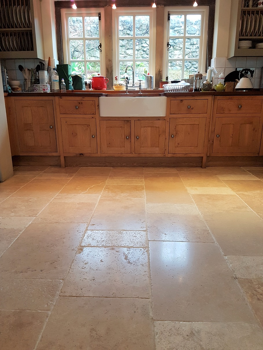 Travertine Kitchen Floor After Cleaning Parwich