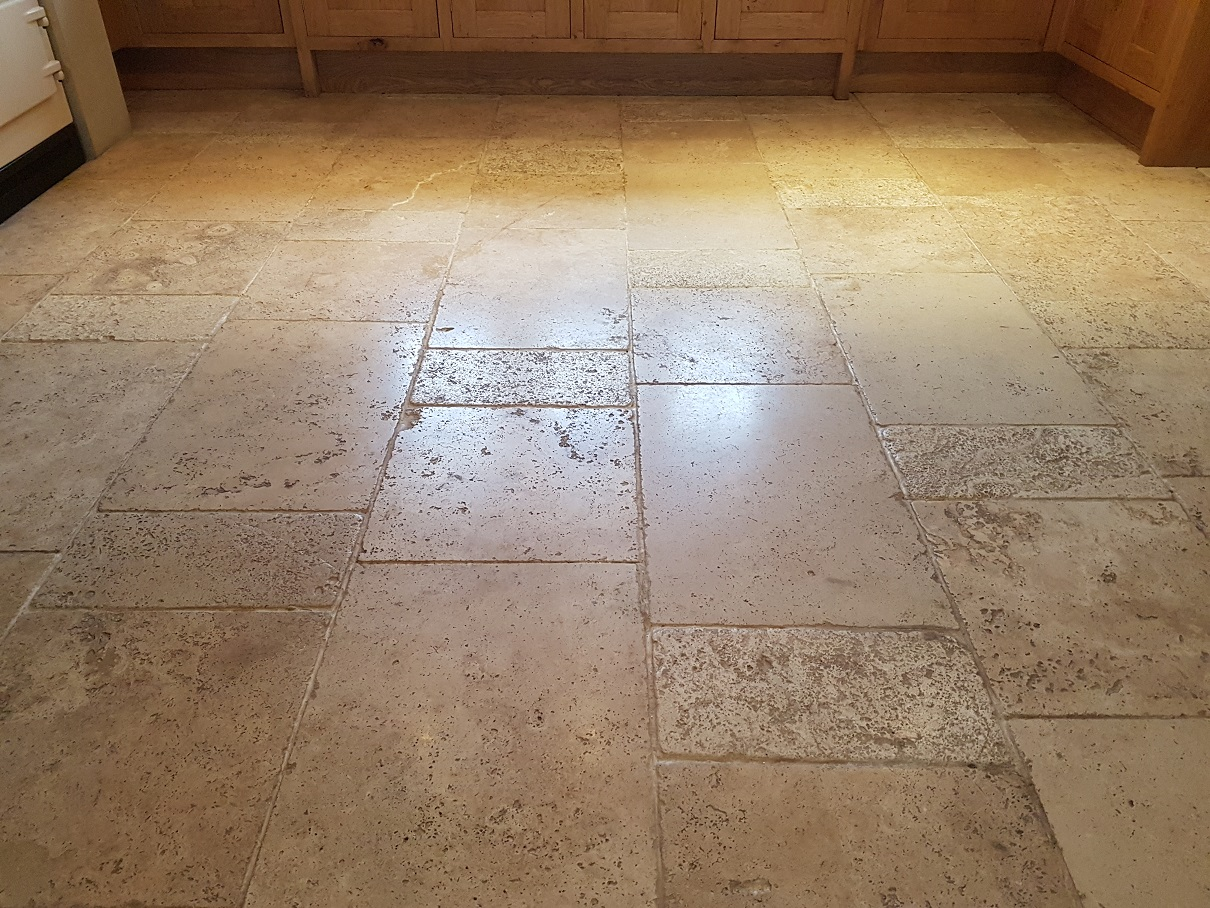 Travertine Kitchen Floor Before Cleaning Parwich