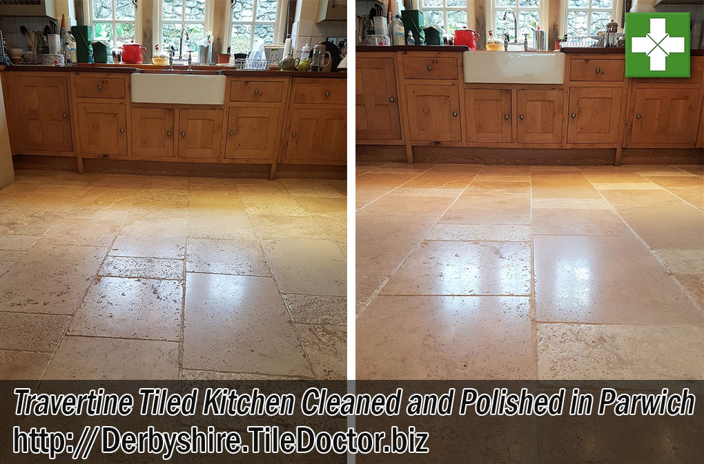 Travertine Tiled Kitchen Floor Before and after Renovation Parwich