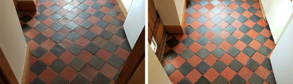Cleaning Sealing Red and Black Quarry Floor Tiles Buxton