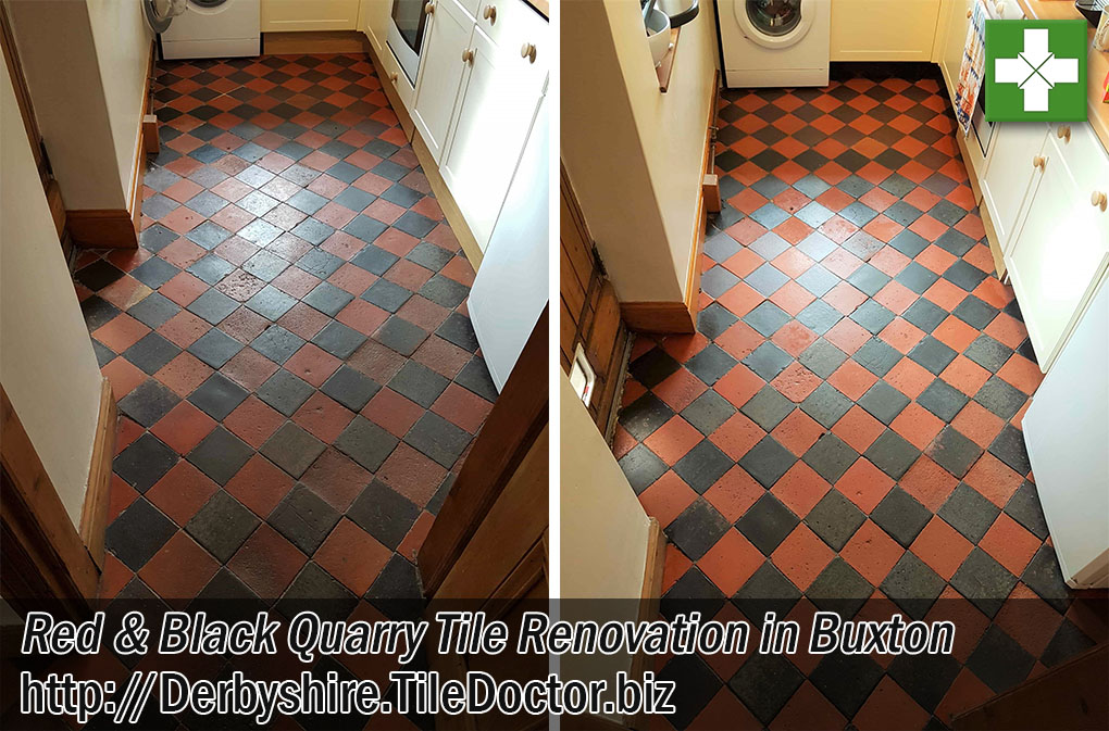 Quarry Tiled Floor Before and After Renovation Buxton