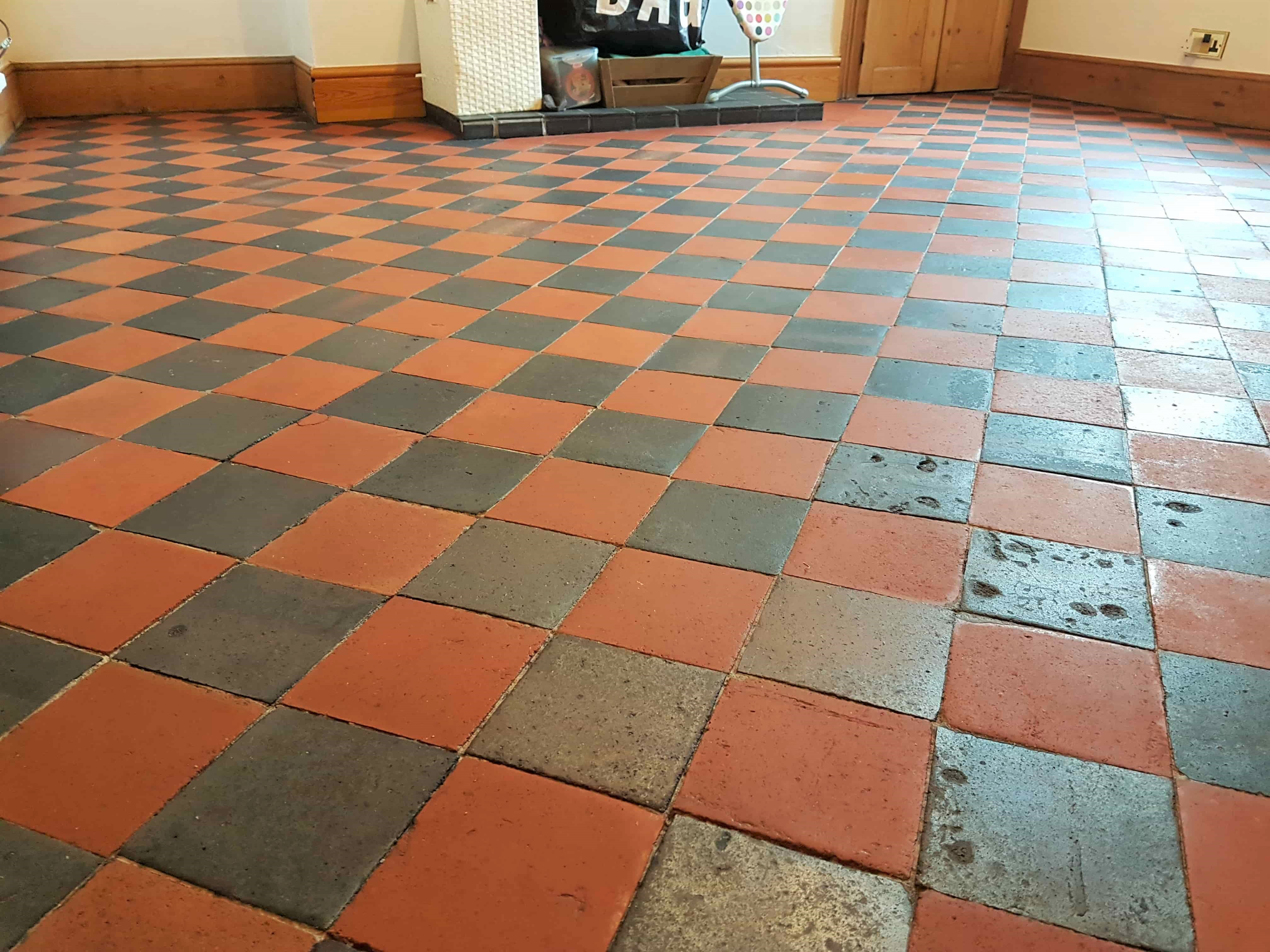 Red Black Quarry Tiled Floor After Cleaning Buxton