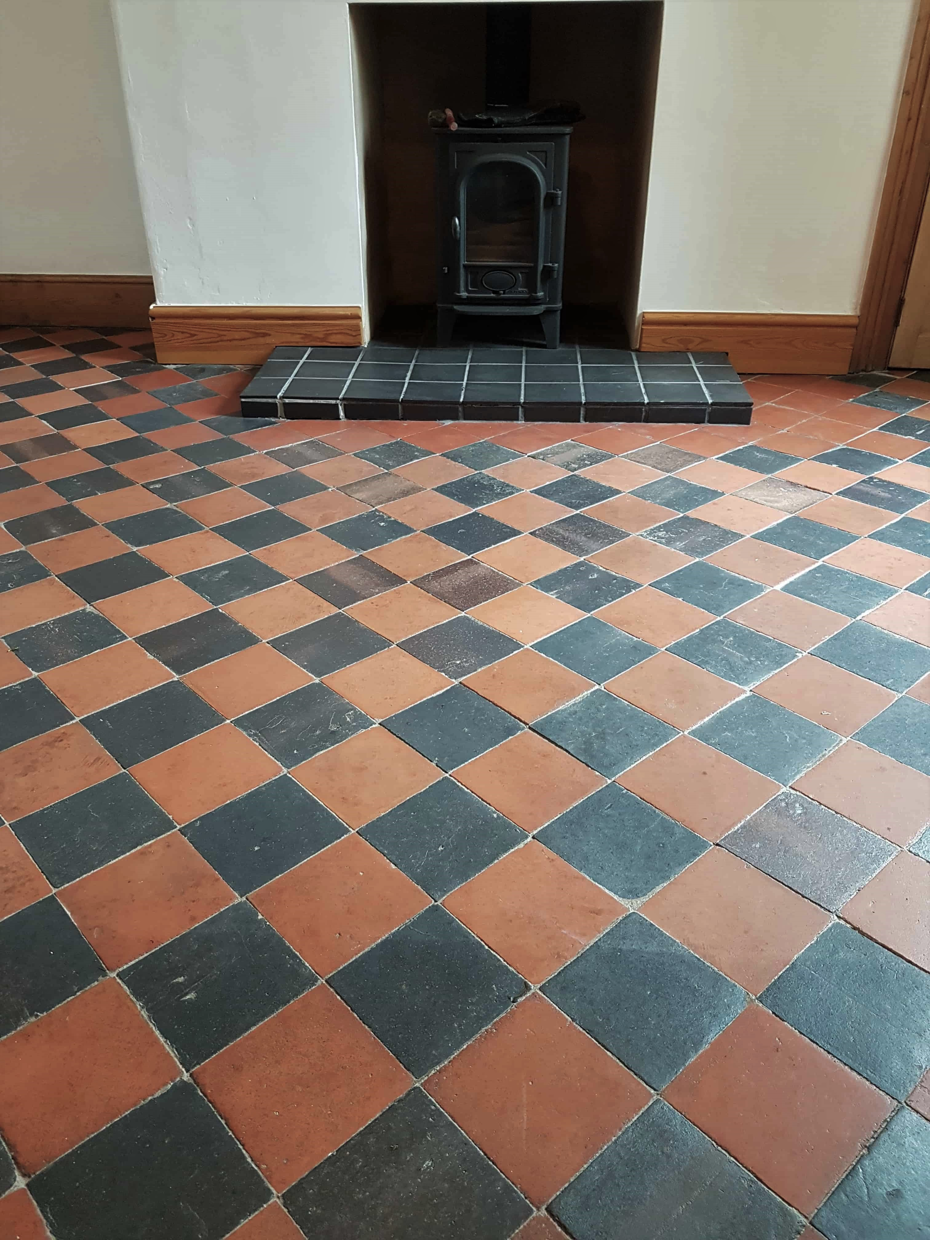 Red Black Quarry Tiled Floor Before Cleaning Buxton
