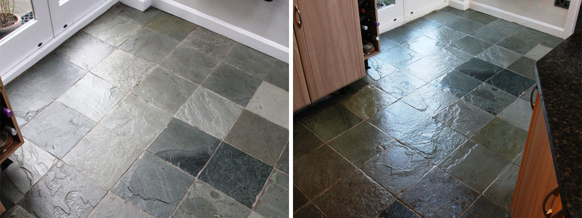Poorly Maintained Chinese Riven Slate Tiles Restored in Chesterfield
