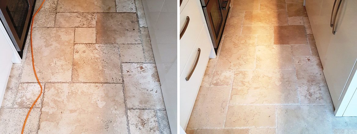 Dull Limestone Kitchen Floor Burnished and Polished in Chesterfield