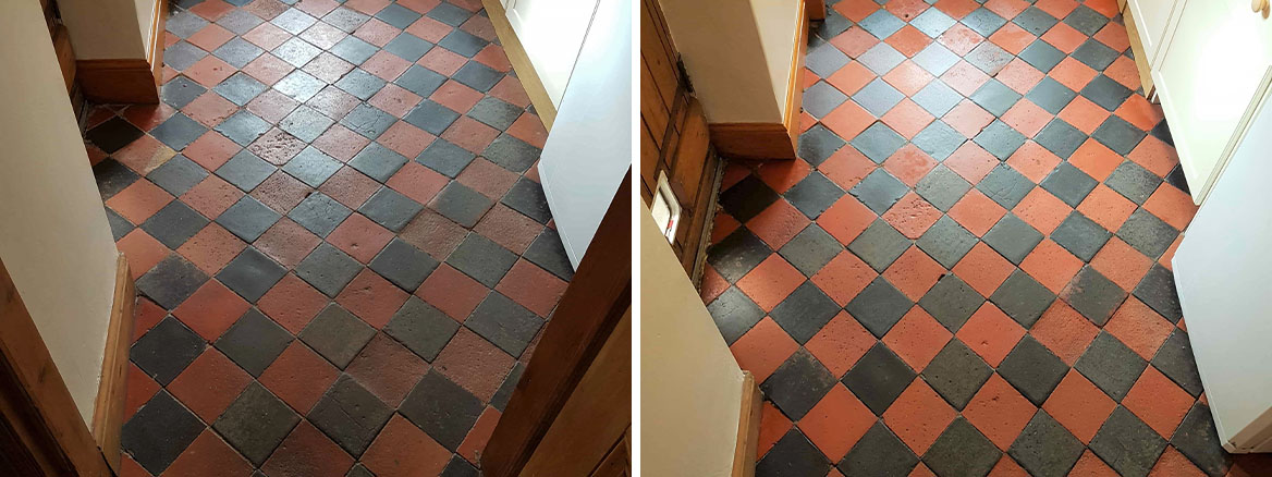 Red Black Quarry Tiled Floor Before and After Cleaning Buxton
