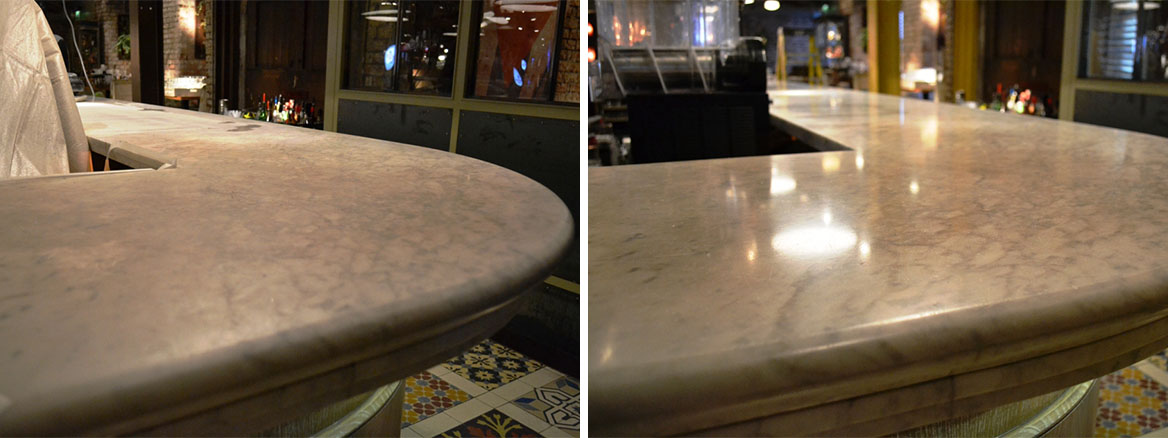 Revolucion De Cuba Bar Top Before and After Polishing Manchester