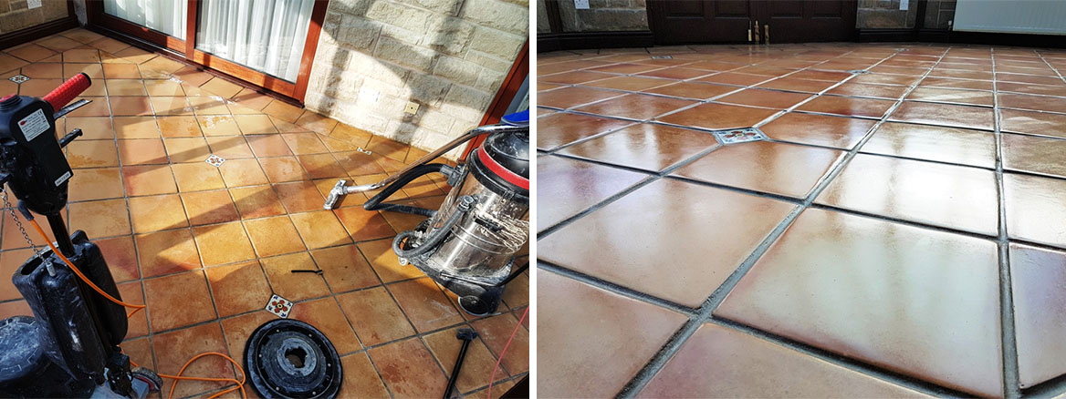 Removing Wax and Restoring Colour to a Terracotta Tiled Conservatory Floor