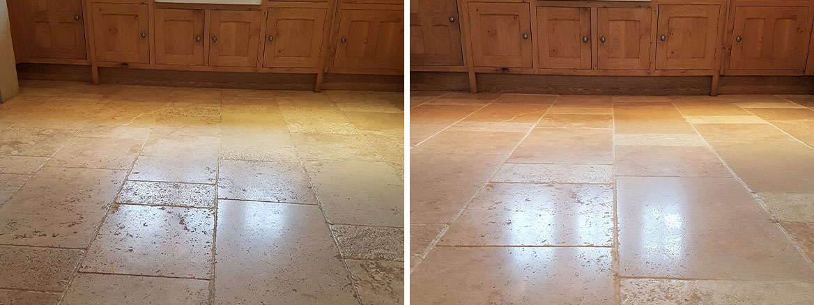 Dirty Travertine Kitchen Floor Deep Cleaned and Polished in Parwich