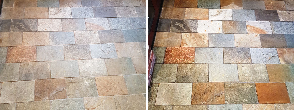 Welsh Slate Kitchen Floor Tiles Before and After Cleaning and Sealing Ticknall Derby