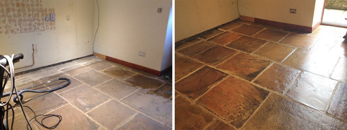 Yorkstone Floor Before and After Cleaning and Sealing in Deepcar Sheffield
